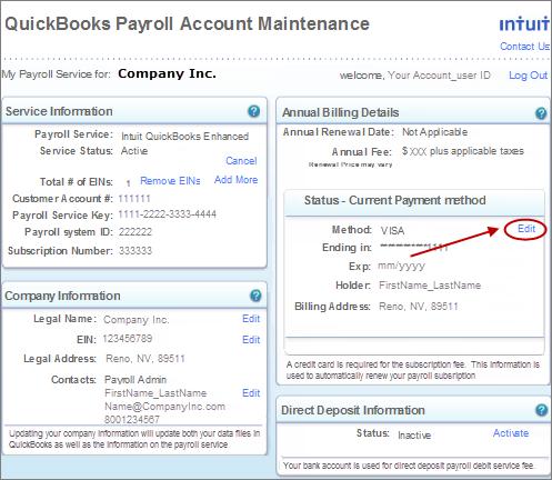 Update CC Info QB Payroll